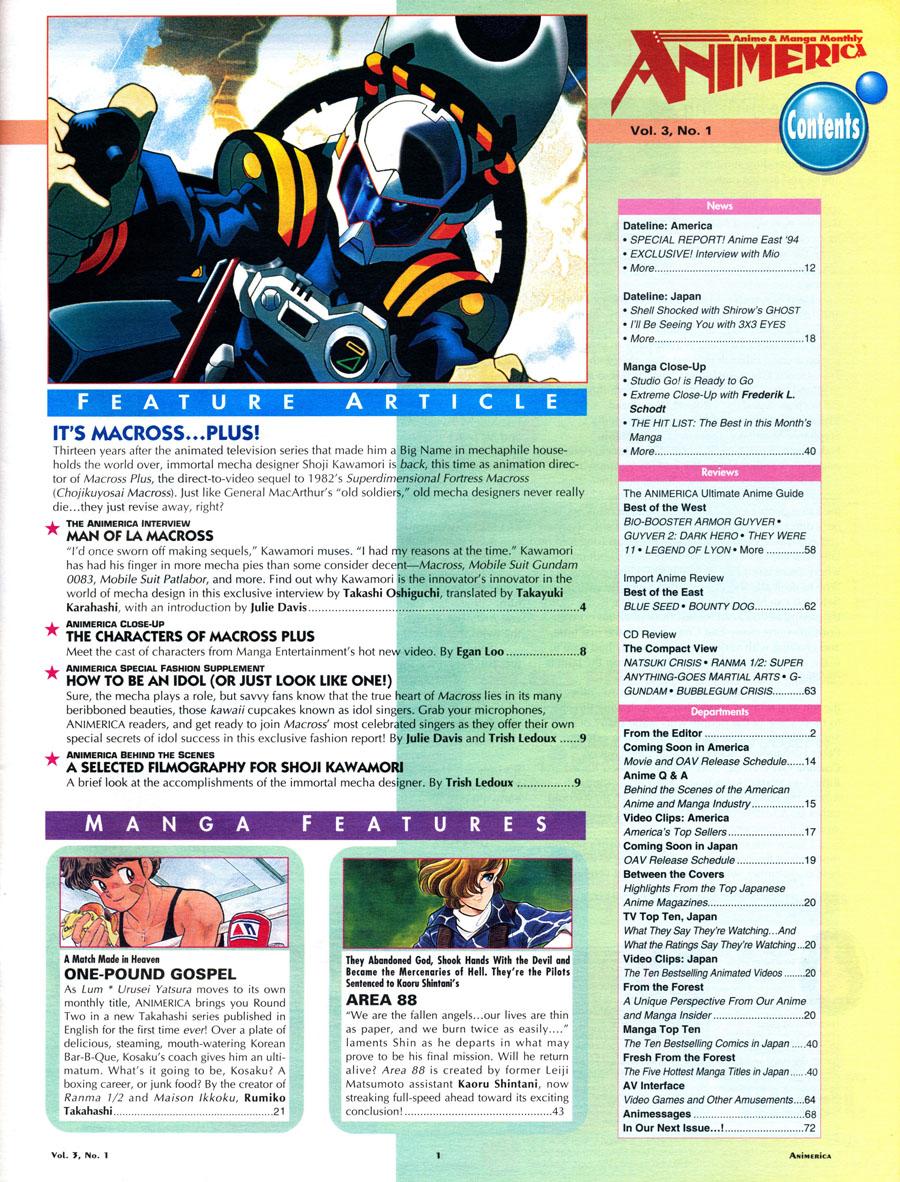 Animerica-Magazine-1995-Macross-Plus-Contents