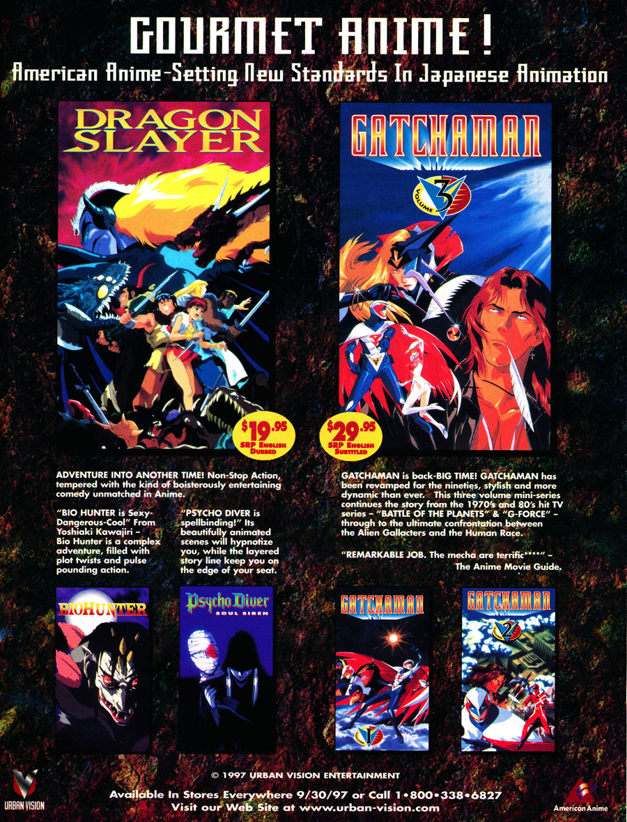 Urban-Vision-Dragon-Slayer-Gatchaman-American-anime-psycho-driver-VHS