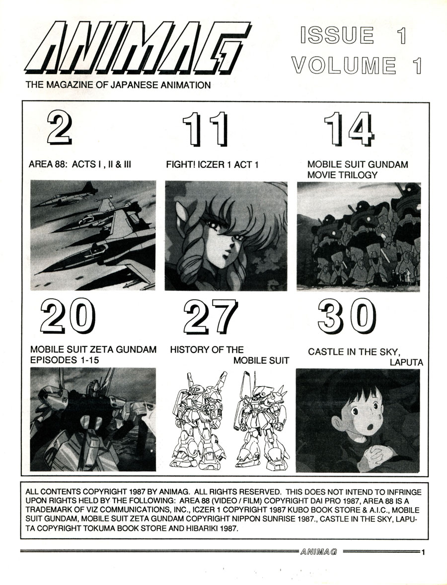 Animag-1987-Issue-1-First-Magazine-Contents
