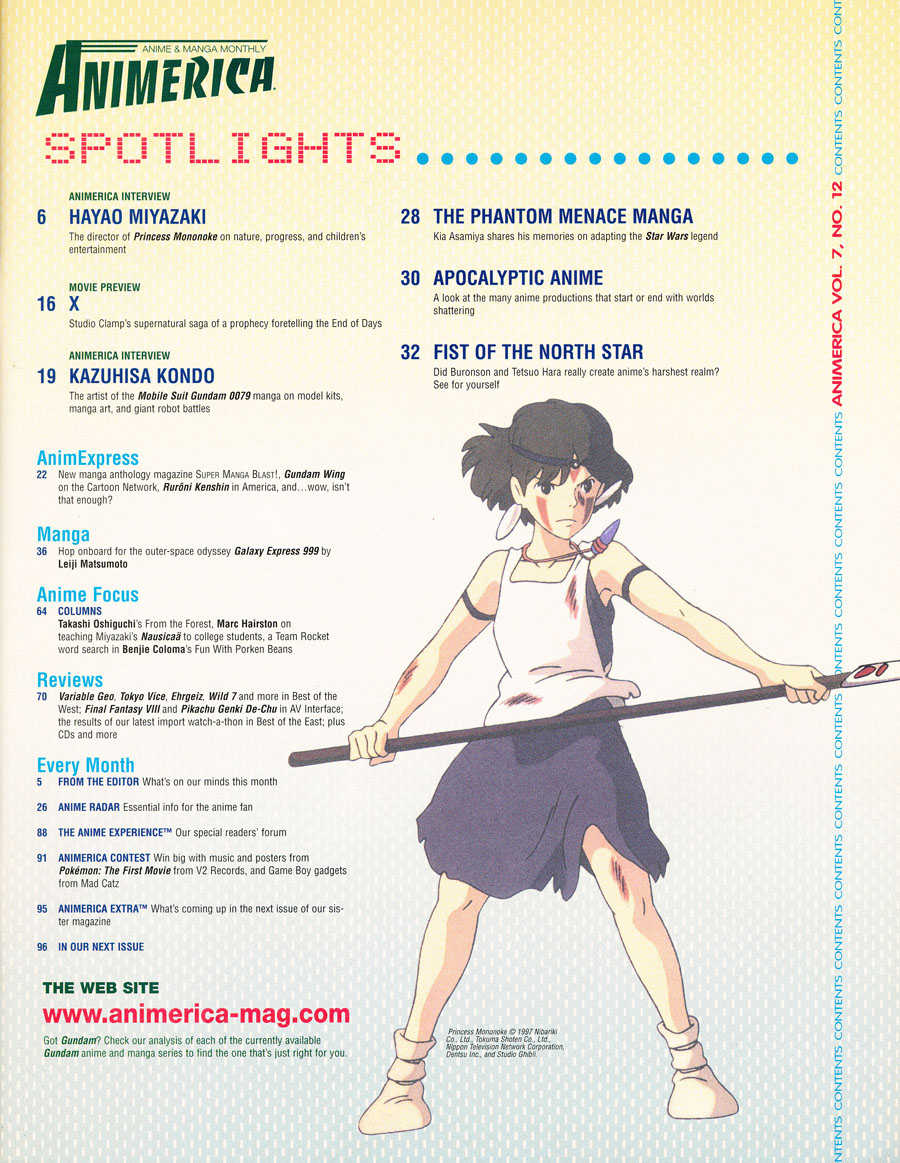 animerica-december-1999-contents