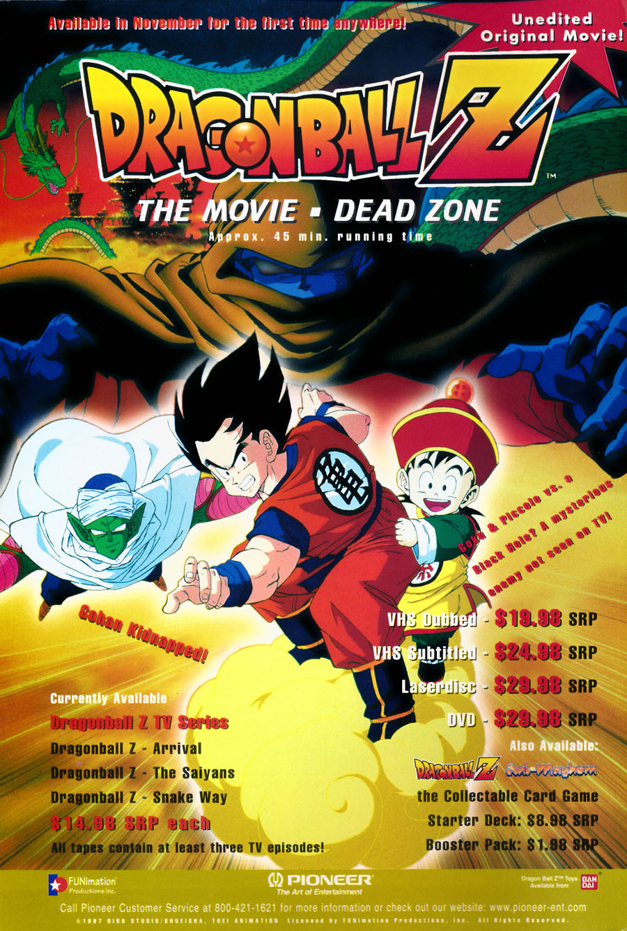 Dragon-Ball-Z-dragonball-dead-zone-movie-vhs-dvd-ad-pioneer-toei-funimation-unedited--Issue-3-December-1997