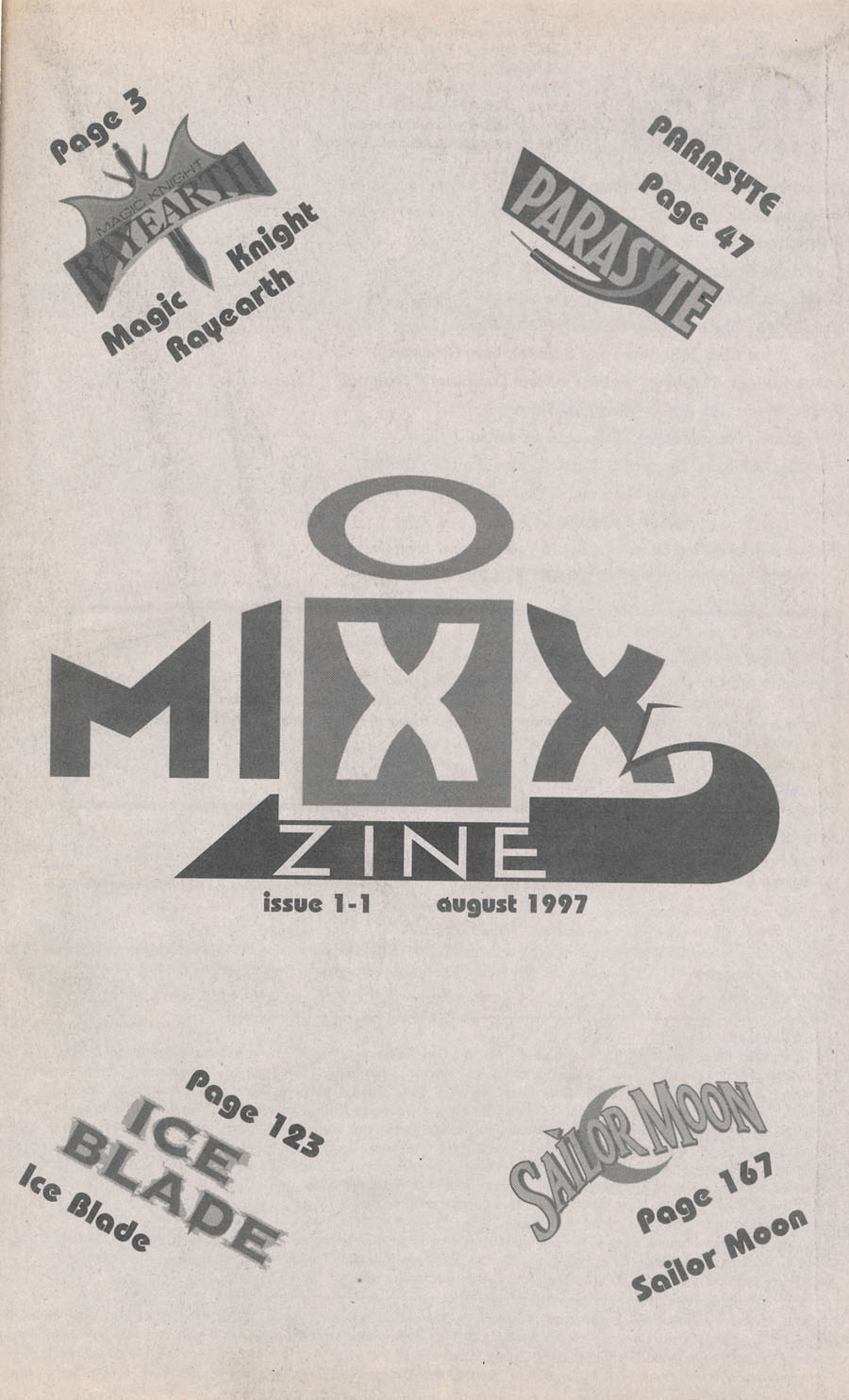 Mixx-Zine-Issue-1-August-1997-Contents-Sailor-Moon